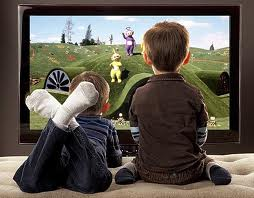 children in front of screen
