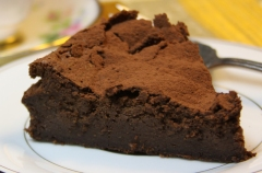 mousse cake with cocoa dusting